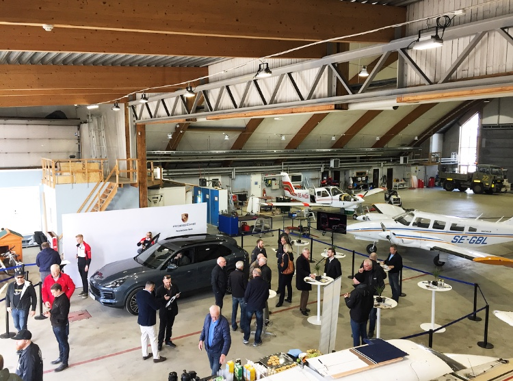 Porsche event in the hangar