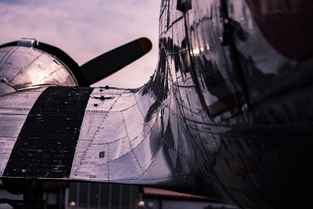 Close up of the aircraft wing on the DC3