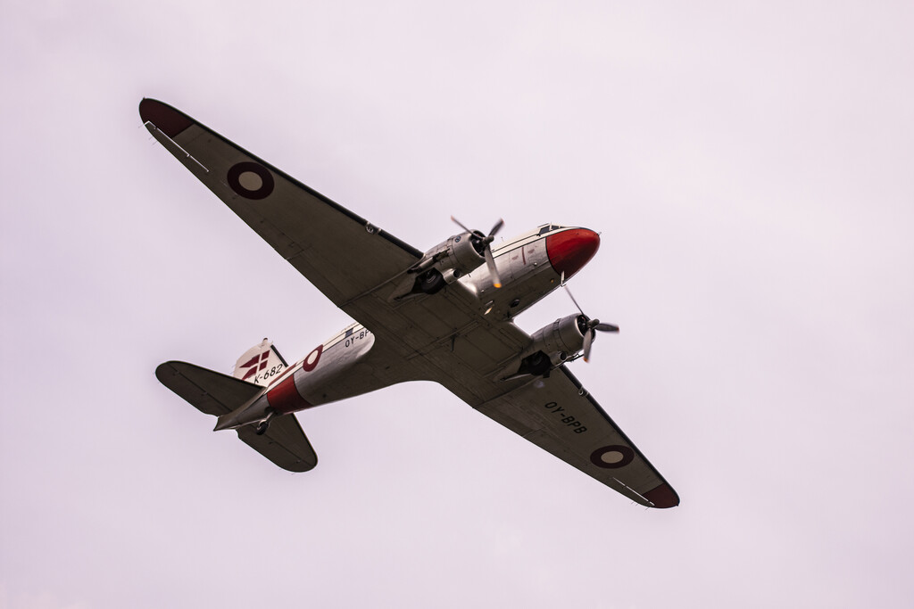 Close up of the DC3 in the air