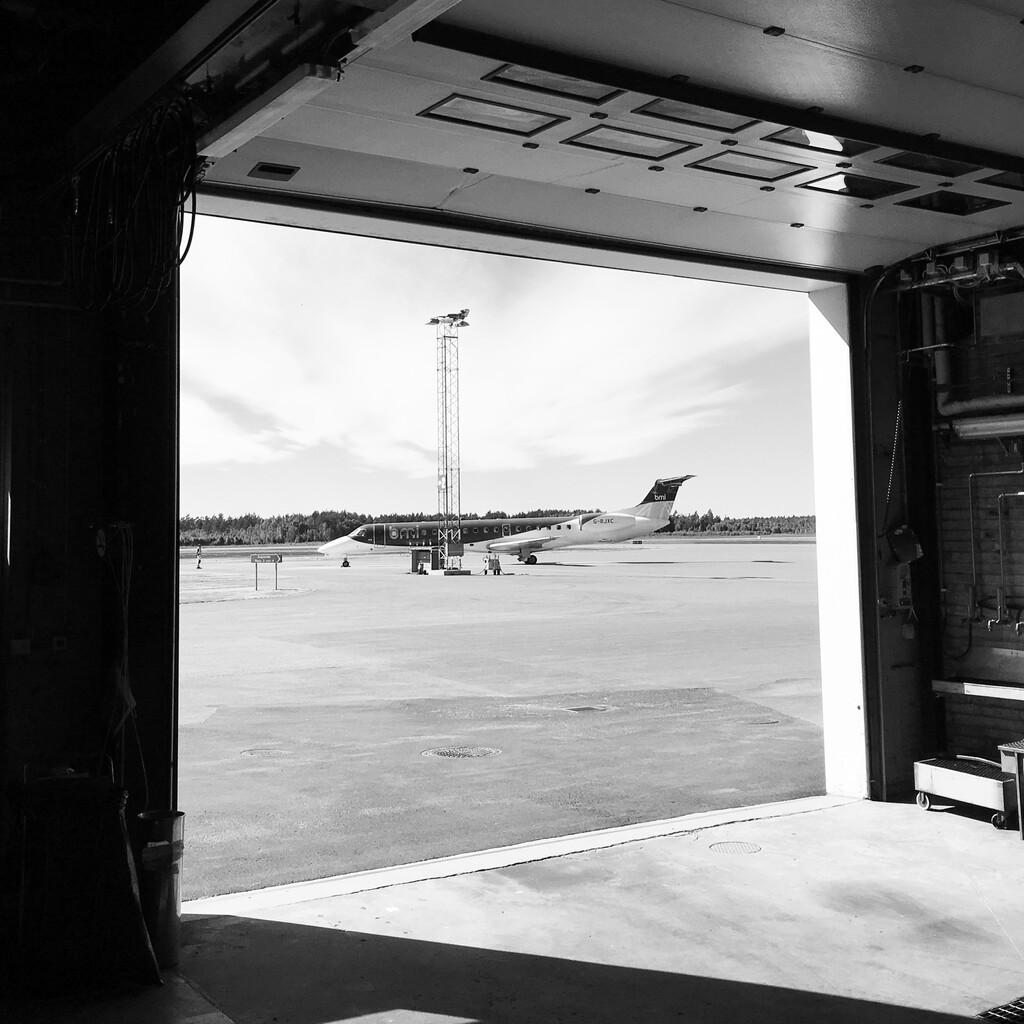 flyBMI's aircraft in black and white photo