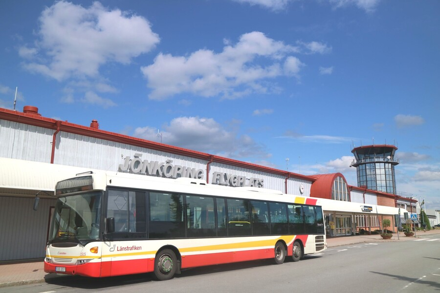 Bus parked in front of the terminal building